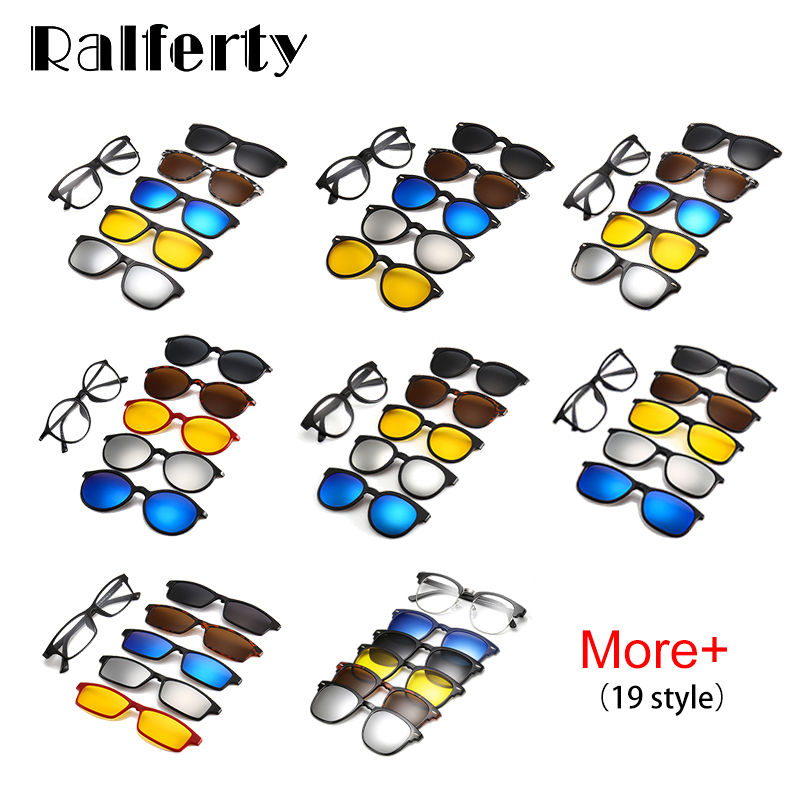 Image 4 - Ralferty Ultra light TR90 Magnetic Clip On Sunglasses Men Women Polarized UV400 Sunglases Prescription Eyewear Frame With Case-in Men's Sunglasses from Apparel Accessories
