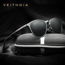 VEITHDIA Sun Glasses Retro Aluminum Magnesium Sunglasses Polarized Lens Vintage Eyewear Accessories Sun Glasses Men/Women 6625