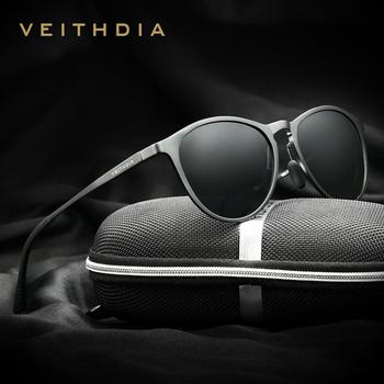 VEITHDIA okulary Retro aluminium magnezu soczewki polaryzacyjne do okularów Vintage akcesoria do okularów okulary mężczyźni kobiety 6625 tanie i dobre opinie CN (pochodzenie) owalne Dla osób dorosłych Magnes aluminium MIRROR UV400 48 mm Z poliwęglanu 57 mm