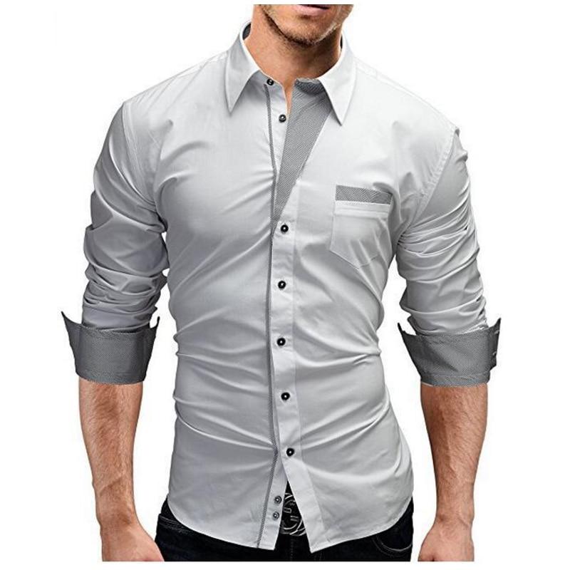 2018 Mode Märke Camisa Masculina Långärmad tröja Män Solid Färg - Herrkläder - Foto 2