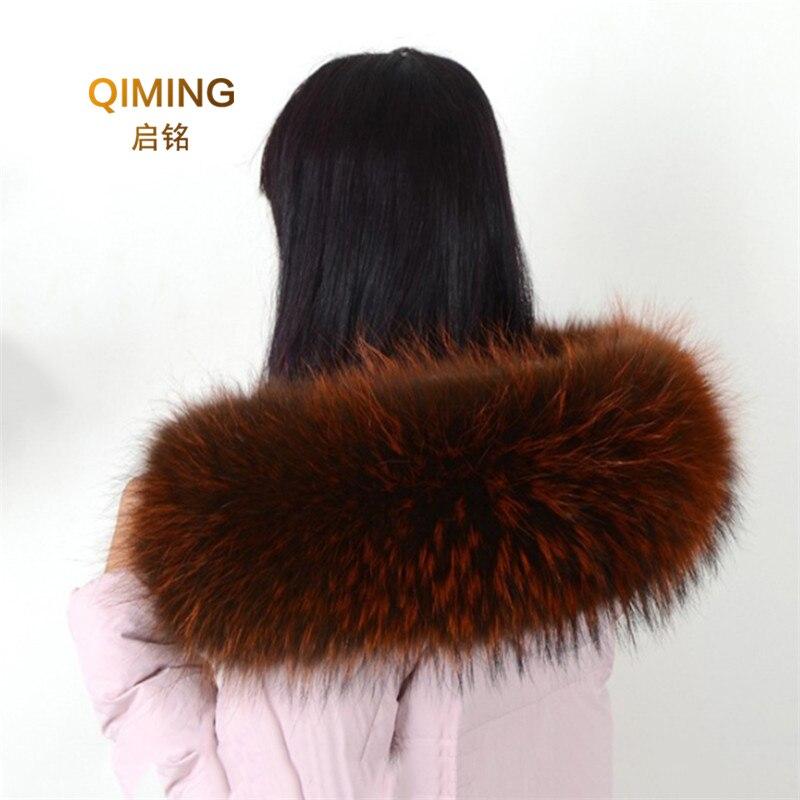 Real Raccoon Fur Collar Womens 100% Natural Fur Gray Collar Real Fur Shawl Raccoon Collar Fur Scraves Scarf Women 60/80cm