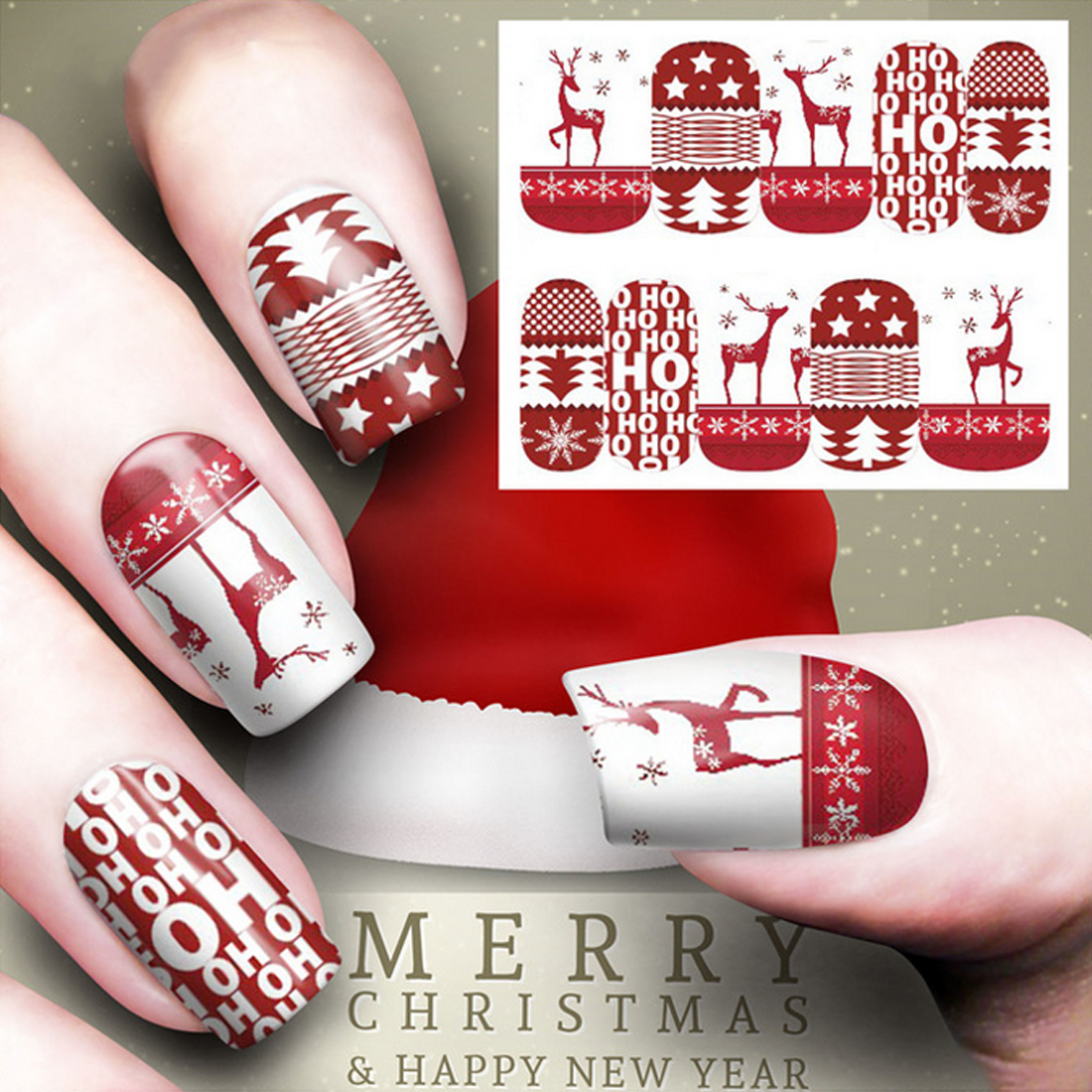 Santa Claus Snowman Designs Decals 12 Sheets Christmas Water Decal ...