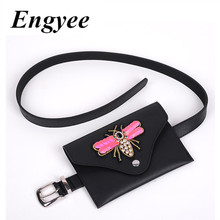 ФОТО engyee designer fanny pack for women fashion black leather waist bag pack with butterfly mini belt wallet women phone pouch bag