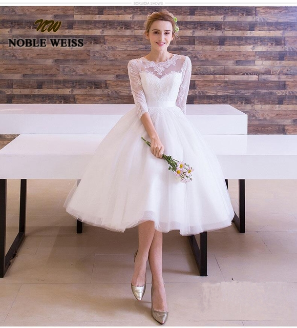 NOBLE WEISS Lace Bridal Dress Tea Length Tulle Wedding Dresses Three  Quarter Sleeve Wedding Dress Gown 41fe2c9fb732