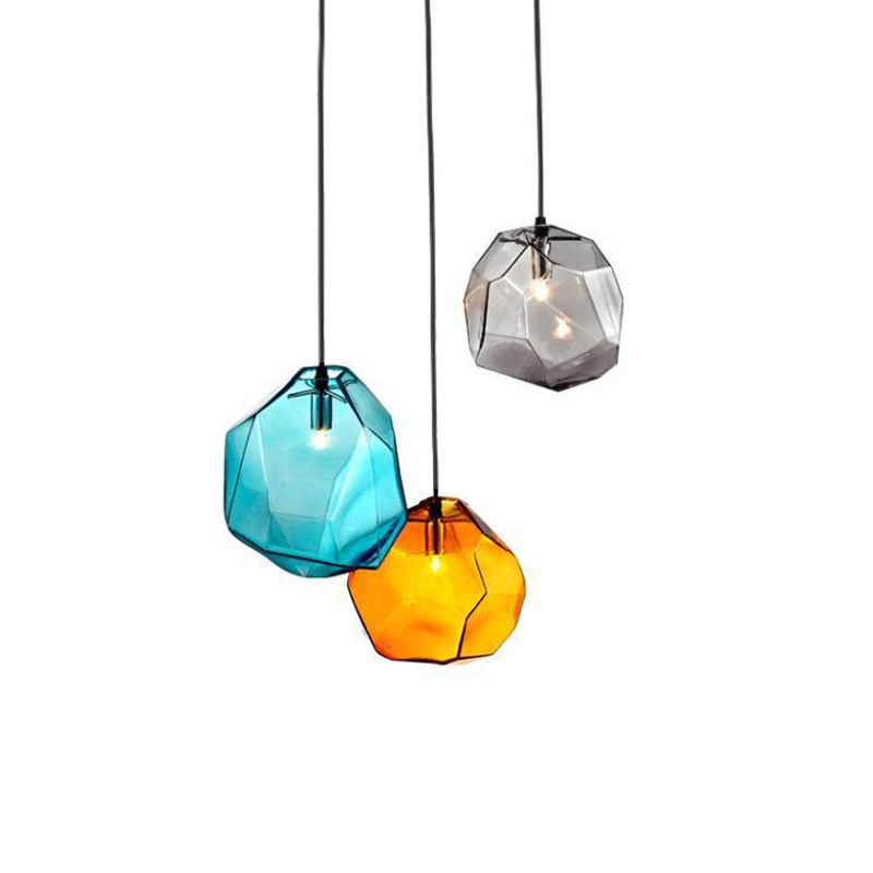 Modern Colorful Hanging Glass Pendant Light Yellow Grey Blue Glass Shade Iceberg Pendant Lamp Fancy Glass Home Lighting Decor