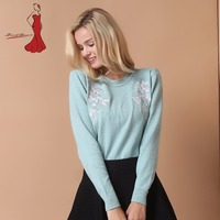 Deviz Queen High Quality Office Lady Women Sweater New Embroidery Pullover Winter Tops Cashmere Sweater Autumn