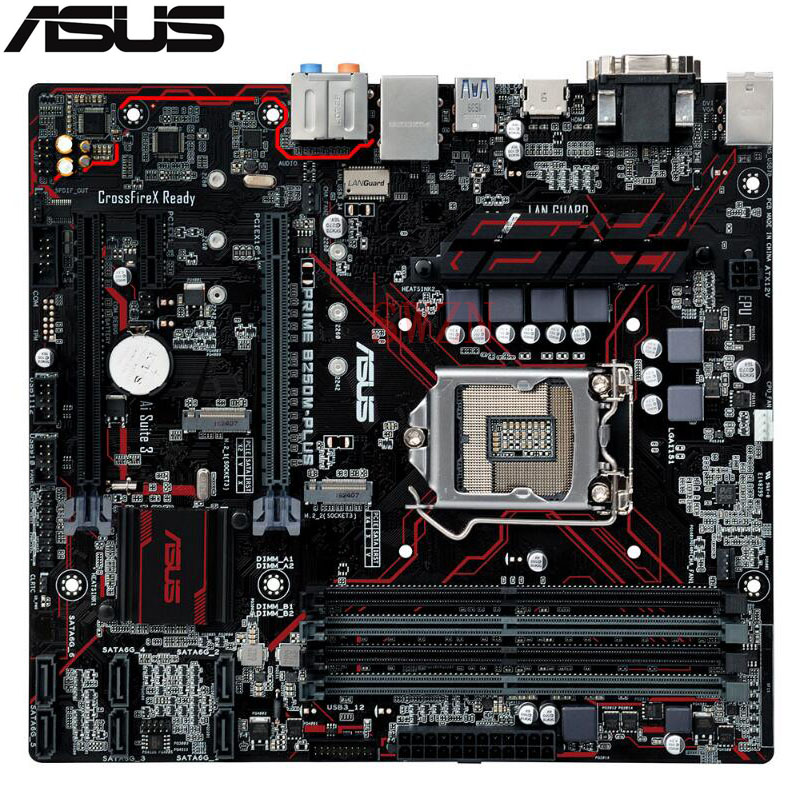 original New Desktop motherboard For ASUS PRIME B250M-PLUS LGA 1151 i7i5i3 4*DDR4 support 64G 6*SATA III 2*M.2 Micro ATX цена