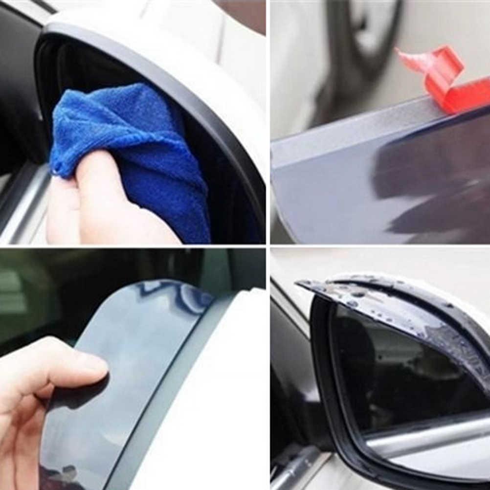 2 uds espejo retrovisor del coche de PVC negro pegatina lluvia ceja burlete Protector de lluvia de espejo de coche cubierta de sombra Protector