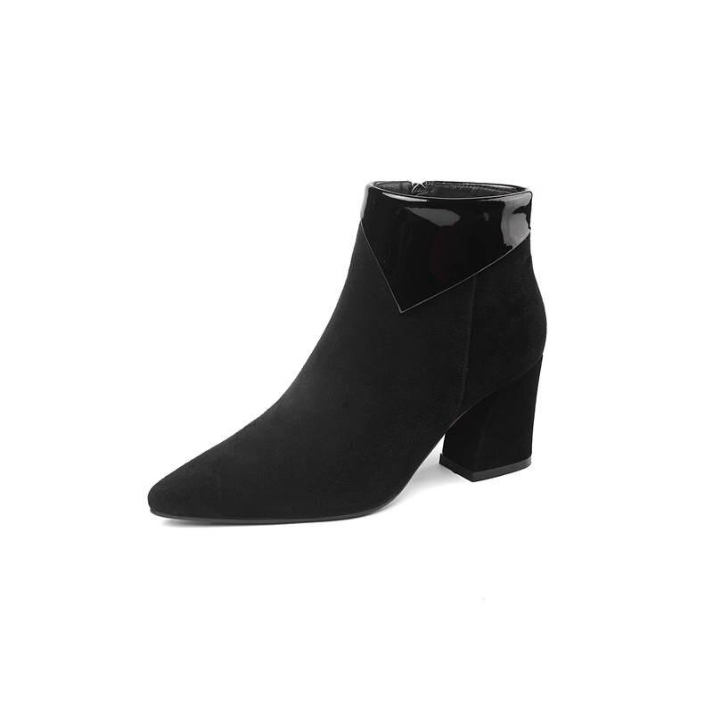 Bout Talons Sexy Nouvelle Pour 2018 Femme Cuir Automne Arrivée Noir Cheville Bottes Chaussures Hauts caramel Zipper Femmes Morazora En Color Pointu Daim 8T5aqqw
