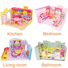 wholesale price 3D kids toys puzzle Bedroom Kitchen Living room Bathroom paper model building kit toys gift for children girls