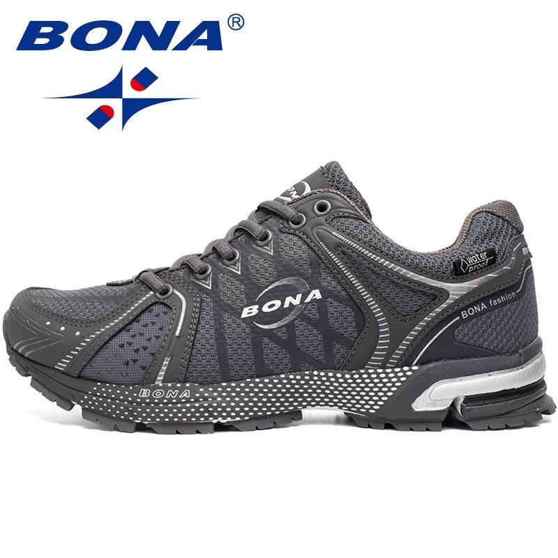 BONA Nouveau Style Imperméable À L'eau Hommes Chaussures De Course En Plein Air Jogging Marche Baskets à Lacets Chaussures de Sport Confortables Livraison Gratuite