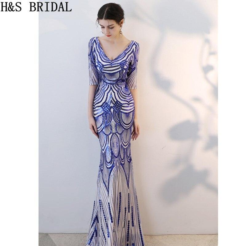 H&S BRIDAL Half Sleeve   Evening     Dress   Royal Blue Sequins   Evening   Gown Mermaid   evening     dresses   V-neck Prom   Dresses   robe de mariee