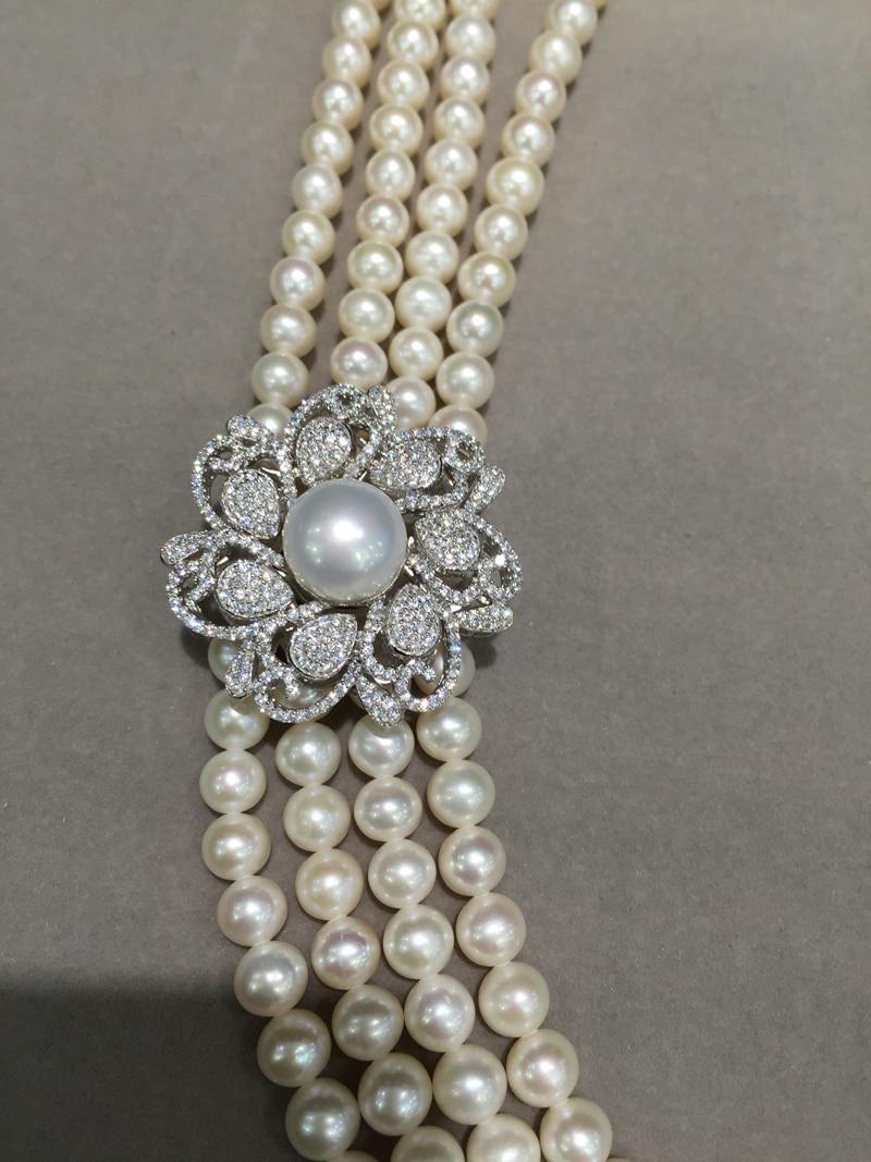 925 argent sterling avec zircon cubique connecteur pour collier bijoux fabrication de fleurs bricolage connecteurs eau douce perle mode - 5