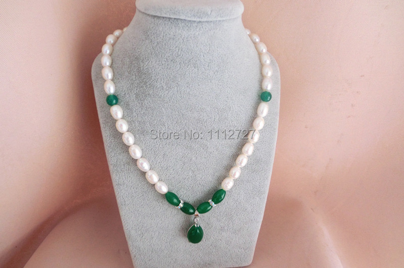 AA Green Onyx Pendant Round White Freshwater Shell Pearl Necklace Jewelry Beads Natural stone 7-8mm 43-45cm Wholesale Price