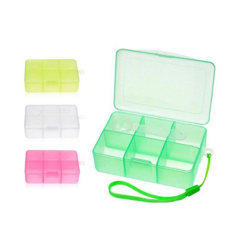 300 шт. путешествия открытый pill случае 6 отсеков прозрачная коробка для хранения Пластик pill коробка Органайзер с 1 г ложка za5305