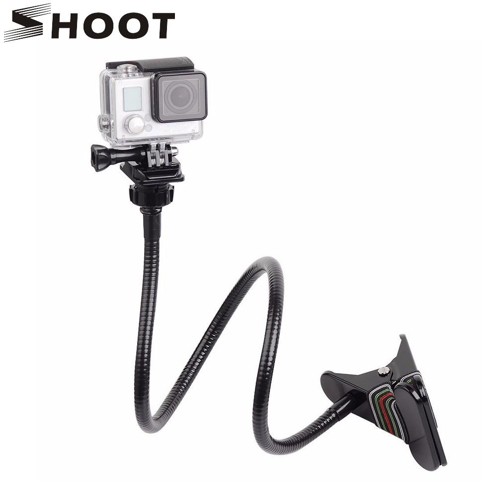 Prix pour Shoot de bureau flexible pince mont col de cygne extension titulaire trépied pour gopro hero 5 4 3 sj4000 yi 4 k h9 caméra avec support