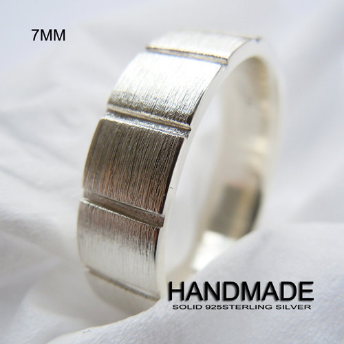 Wellmade 7mm Mens Solid 925Sterling Silver Square Band Ring
