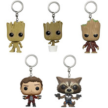 5pcs/lot 4cm Galaxy of the Guardians Tree Man Keychain Figure Toy PVC Tree Man Keychain Action Figures Doll Collection Model Toy(China)