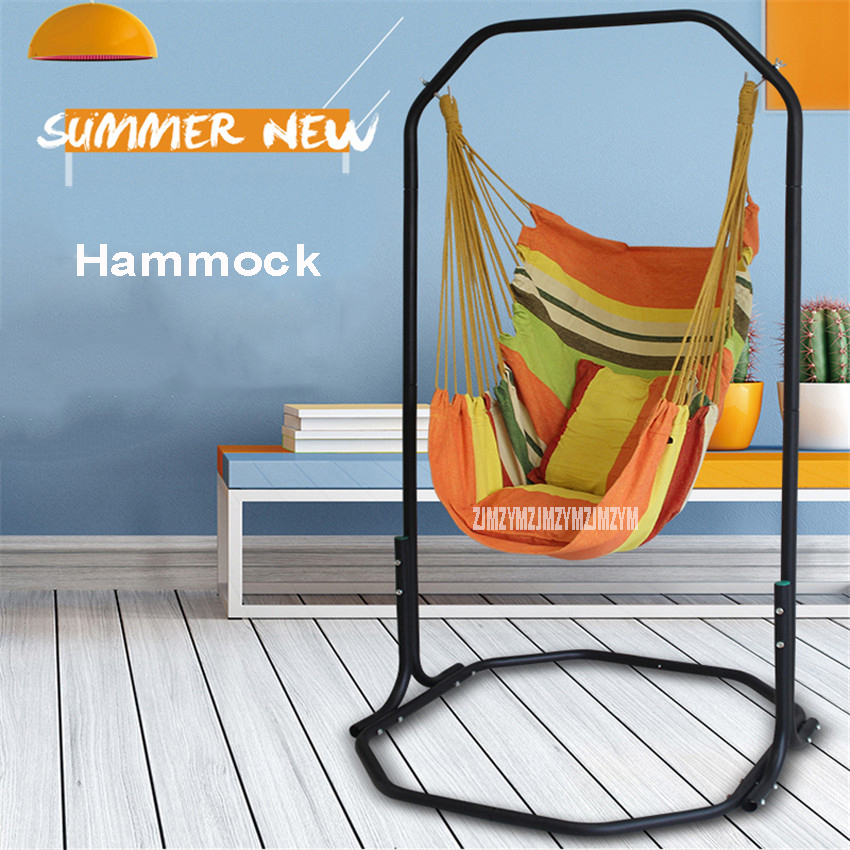 Fashion Garden Home Balcony Iron Canvas Hanging Chair Bearing 200KG Swing Hammock For Children Adult With Bracket 170cm Height