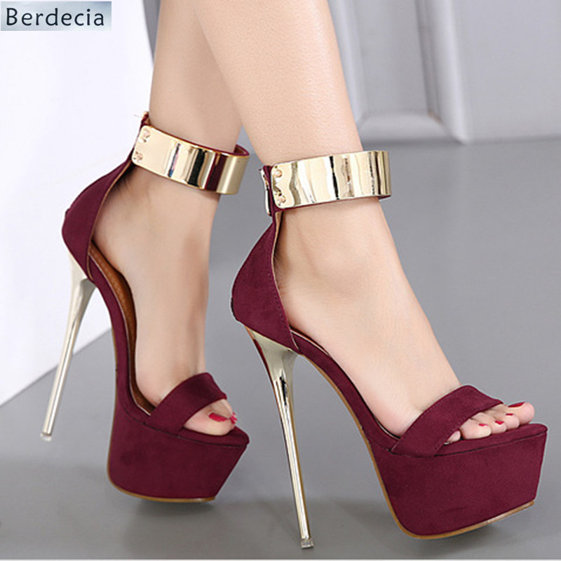 Flock Platform Zipper Women Sandals Super High Heels Women Nightclub Stage Party Shoes Open Toe Thin Heels Women Wedding Sandals