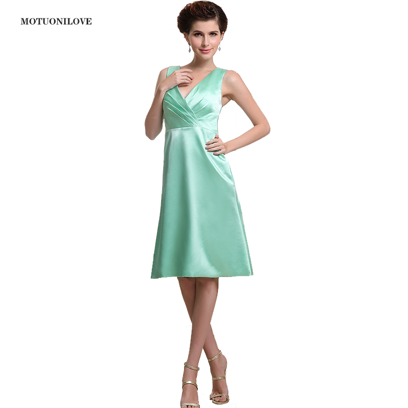 2019 Mint Green Plus Size Formal Party Gowns Satin V Neck Keen Length Ruched Mother Bride   Dress     Cocktail     Dress   Custom Made Size