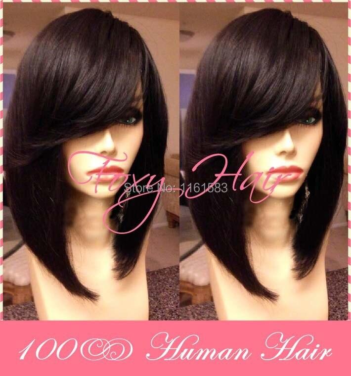 Bob Wigs With Side Bangs Brazilian Short Human Hair Wigs Front Lace