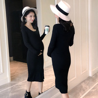 BONJEAN Autumn Winter Maternity Clothes Super Elastic Show Thin V neck Render Knitted Dress Pregnant Women Large Size Clothes