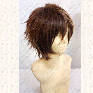 Image 2 - Guilty Crown OUMA SHU Short Brown Mix Fluffy Layered Synthetic Hair Cosplay Anime Wigs + Free Wig Cap