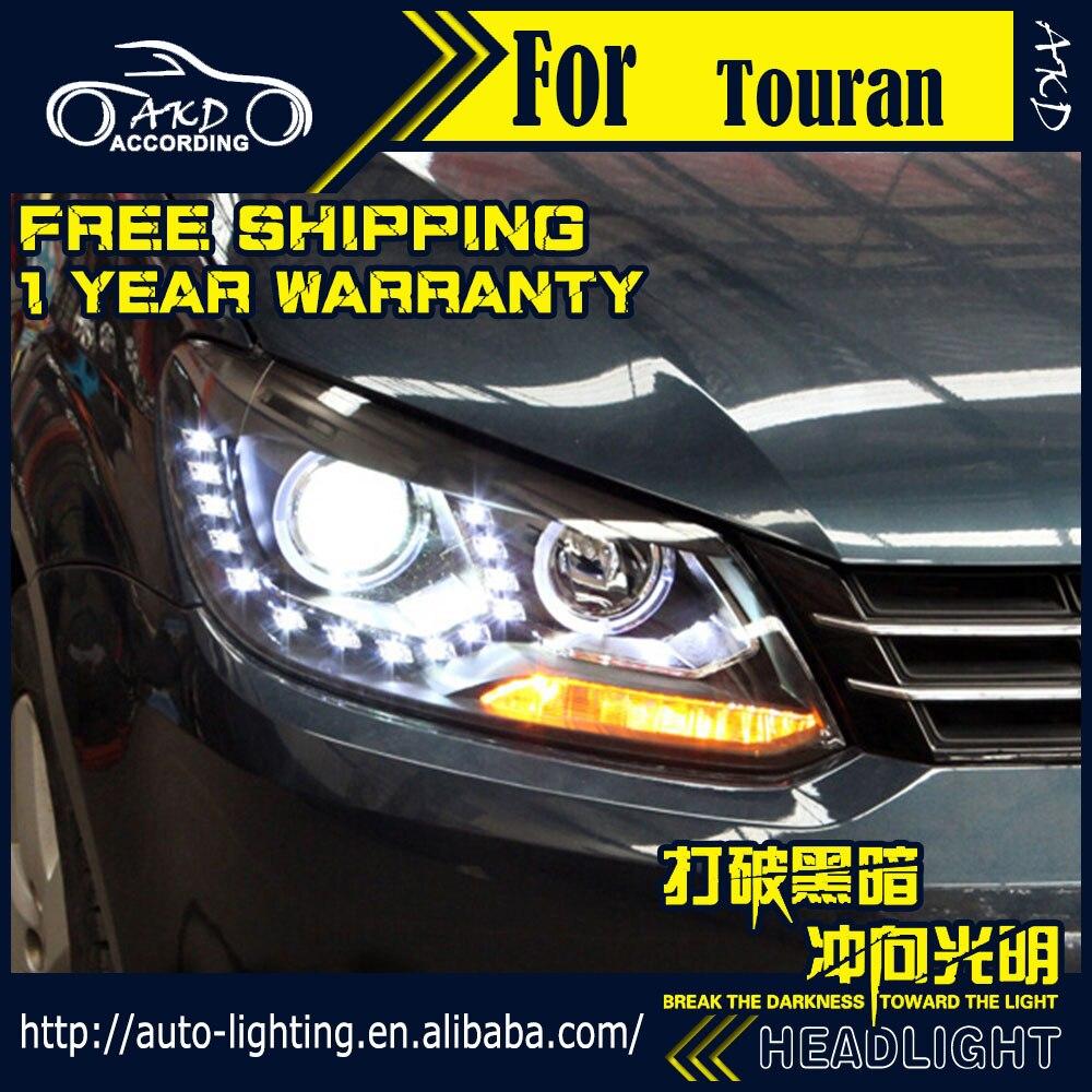 цена на AKD Car Styling Head Lamp for VW Touran Headlights 2012-2015 New Touran LED Headlight H7 D2H Hid Option Angel Eye Bi Xenon Beam