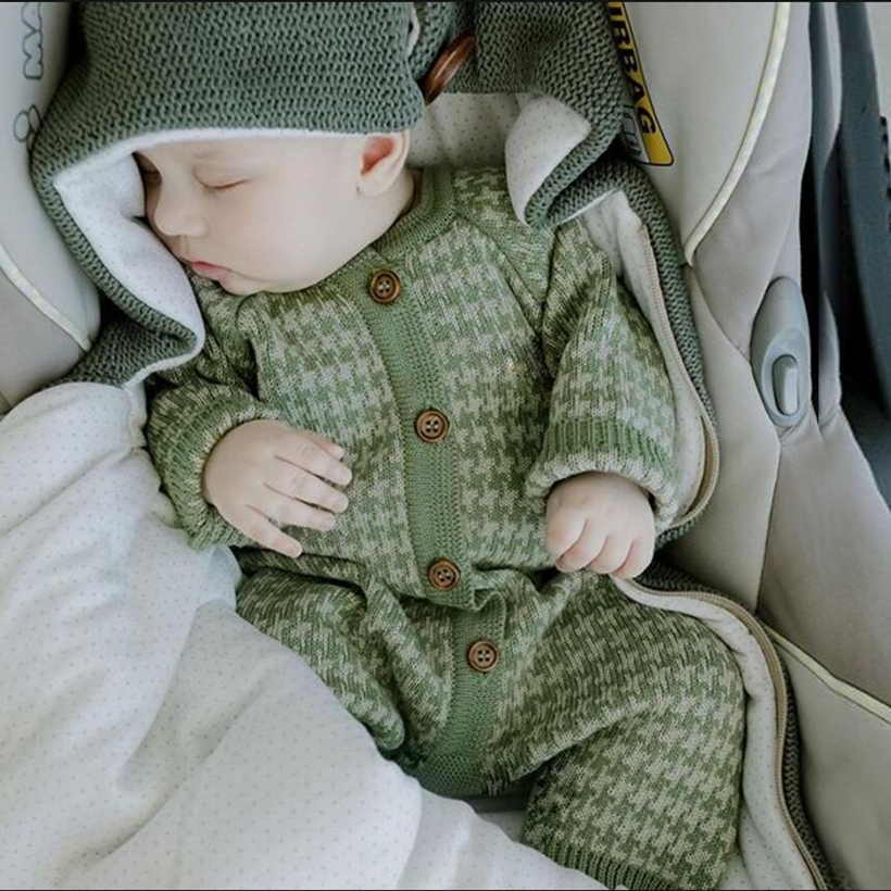Knitted Newborn Baby Clothes Cotton Autumn Winter Baby   Romper   With Plaid Hat Infant Toddler Jumpsuit For Girls Boys Onesie Set