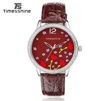 Timesshine Womens Quartz Watches 2018 Dark Red Leather Strap Watches Diamond Case Top Brand Luxury Waterproof