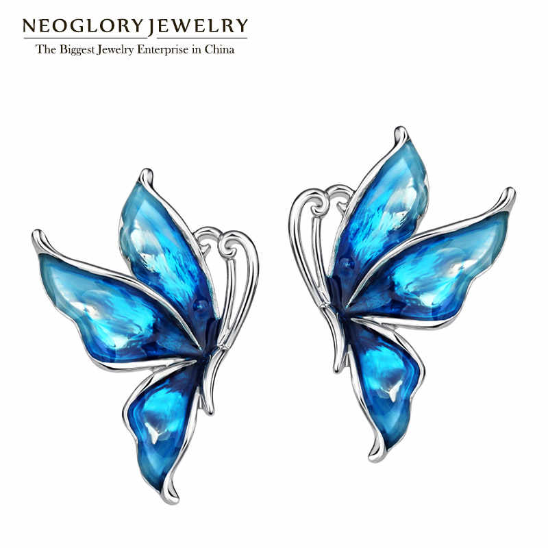 Neoglory Blue Stoving Varnished Boho Big Enamel Butterfly Love Clip Stud Earrings For Women Friendship Gifts 2018