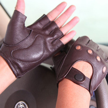 New Style Genuine Leather Men's Gloves Spring Summer Driving Anti-Slip Imitation Deerskin Male Semi-Finger Sheepskin Gloves M044 high quality genuine leather men s semi finger gloves anti slip driving breathable fitness deerskin gloves male d0132 9m