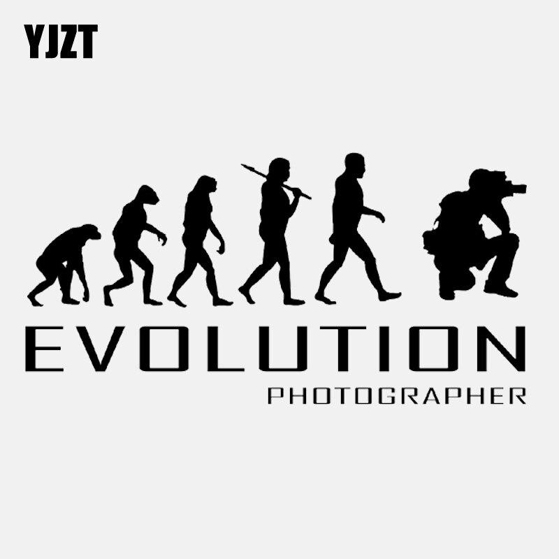 YJZT 16.1CM*8.1CMEvolution Of Photographer Art Photos Camera Vinyl Black/Silver Car Sticker C22-0818