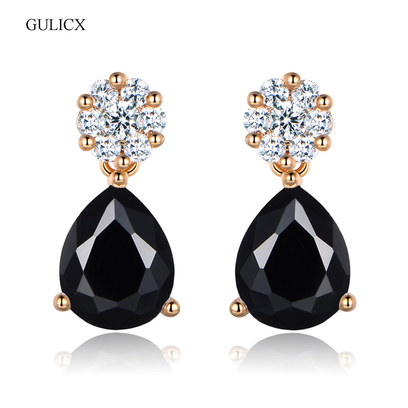 Earings Fashion Jewelry 2017 Party Brand New Fashion Gold-color Black Crystal Zirconia Drop Dangle Earrings for Women E008b