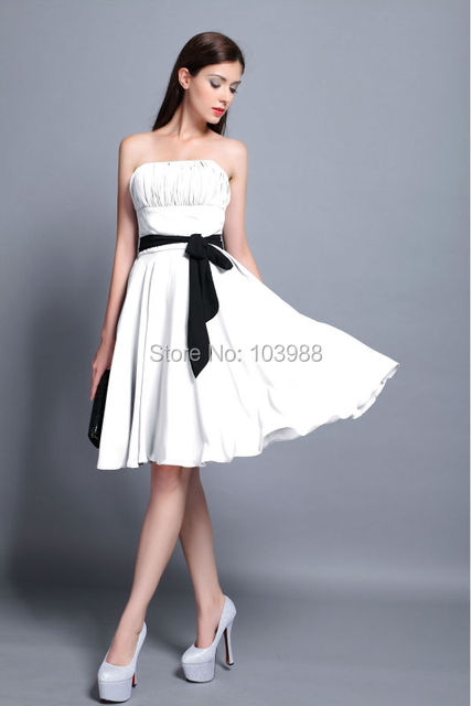 FREE shipping cheap price Short Bridesmaid prom party dress party dress VESTIDO white more color pleat dress