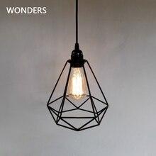 Candelabro de luz colgante de jaula de diamantes Industrial Vintage, lámpara colgante E27, casquillo AC 85 240V