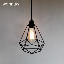 Industrial Vintage Diamond Cage Pendant Light Sconce Hanging Droplight Lamp E27 Socket AC 85 240V