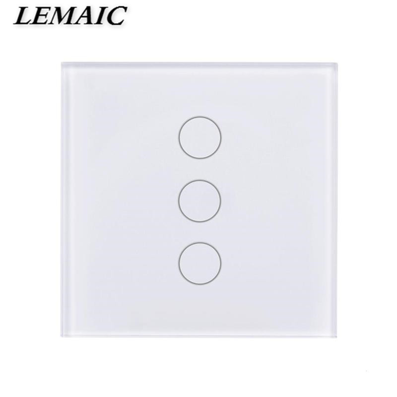 LEMAIC 3 Gang WiFi Smart Switch Alexa Switch Share APP Control Work with Amazon Wall Smart Scene Smart Switch for EU Plug