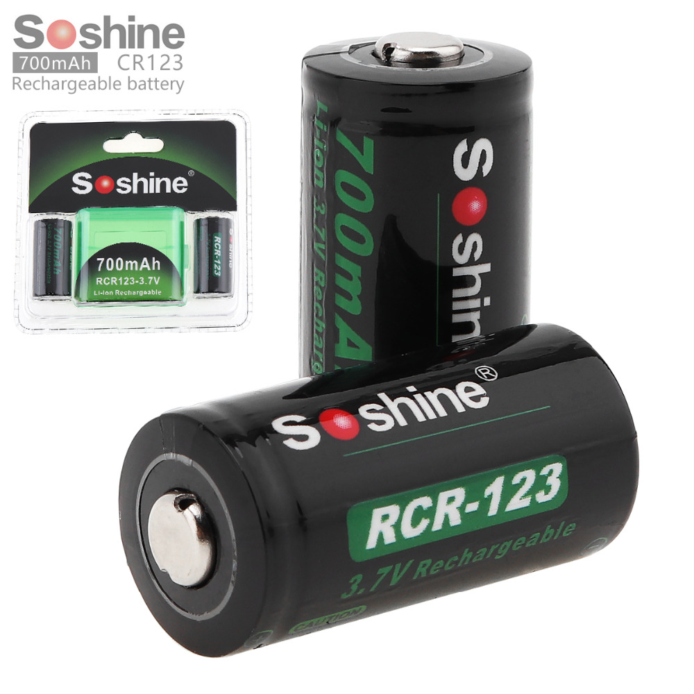 2pc/set Soshine 3.7V 16340 700mAh Lithium Rechargeable Battery RCR123 Li-ion Battery + Battery Case Storage Box