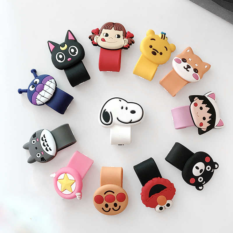 Hot socket Universal Cartoon Cable Organizer Bobbin Winder Cable Protector Expanding phone Stand Finger car phone Holder