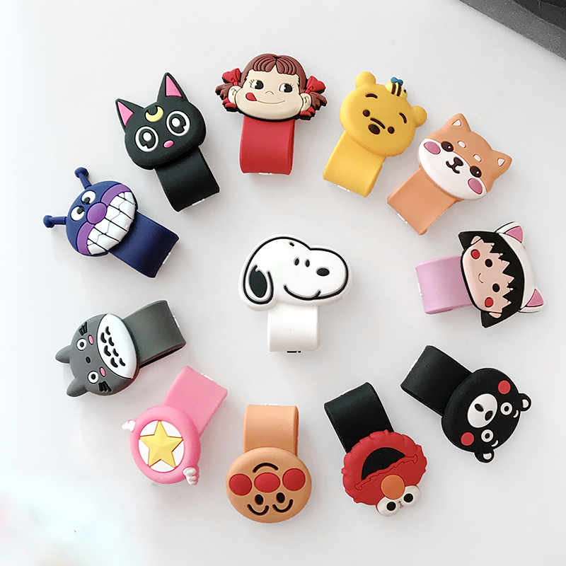 Hot socket Universal Cartoon Cable Organizer Bobbin Winder Cable Protector Expanding phone Stand Finger car phone Holder Car phone