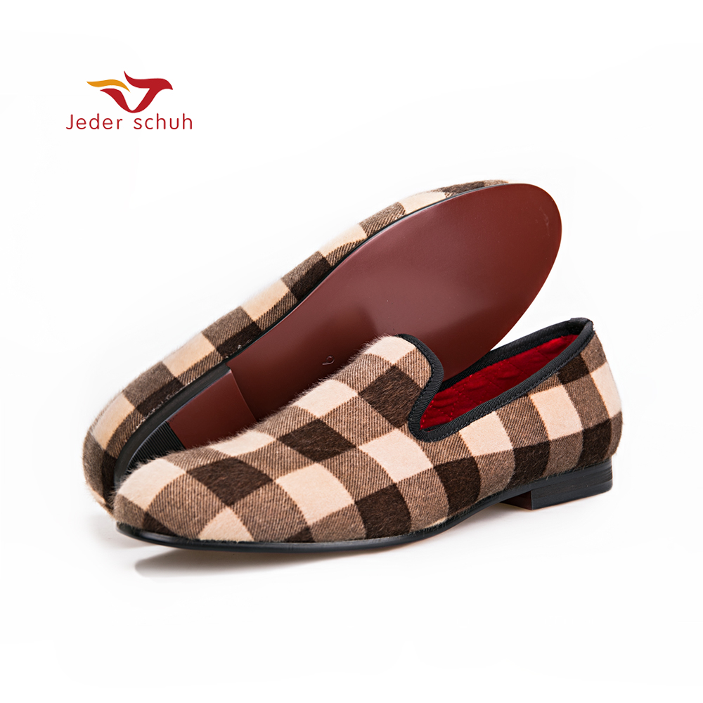 men shoes design Mixed color Plaid pattern velvet shoesmen dress shoes handmade plus size loafers Fashion party and wedding color block plaid dress