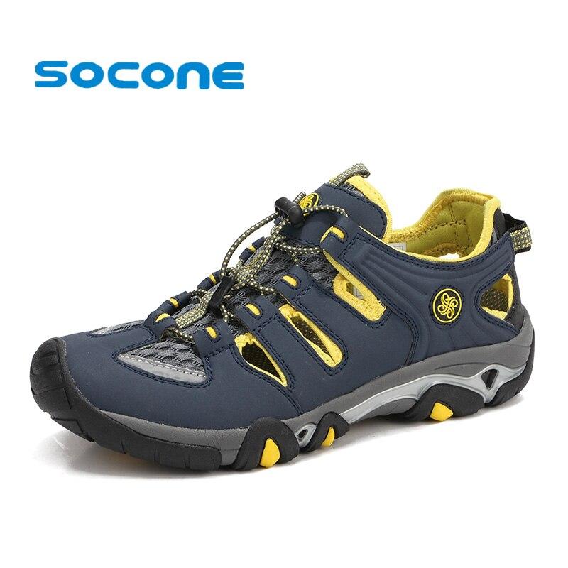 Socone 2019 hommes Sport randonnée sandales amphibie eau chaussures chaussures en cuir respirant en plein air Aqua eau chaussures plage sandales