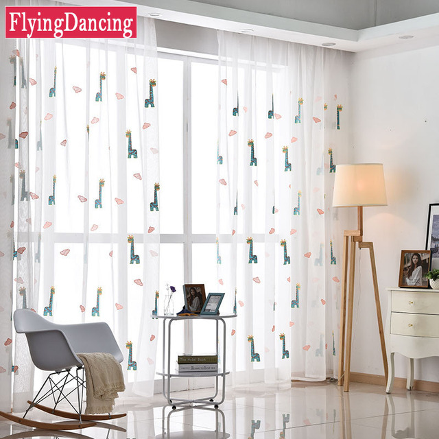 Kids ly Deer Cartoon Embroider Tulle Curtains Ready Made Kids ...
