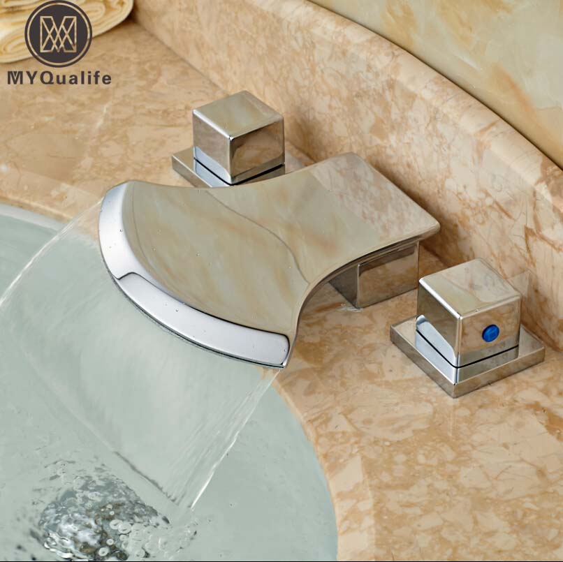 Фотография Dual Handle Bright Chrome Bath Basin Sink Faucet Widespread 3 Hole Deck Mounted Bathroom Mixer Valve Crane