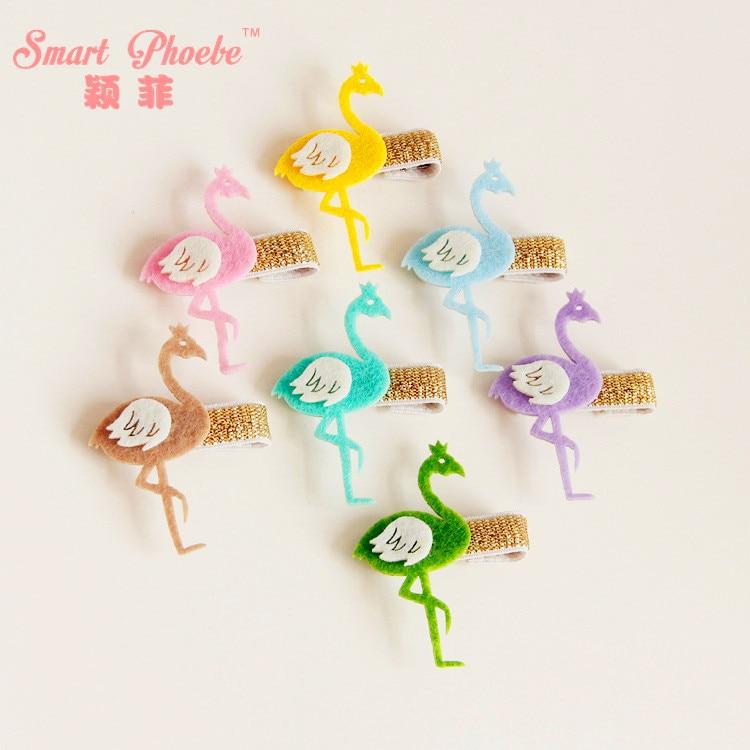 20pcs 7C Fashion Cute Felt Flamingo Girls Hairpins Solid Kawaii Candy Color Animal Bird Hair Clips