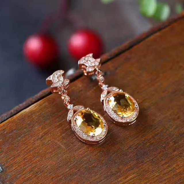 Round Natural Citrine Earrings Jewelry Pure 925 Sterling Silver Weddings Fine Stud Earrings for Women Gift