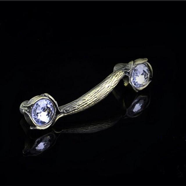 96 mm vidro do vintage da moda diamante móveis handle K9 cristal gaveta do armário puxe antique latão dresser bronze maçaneta da porta