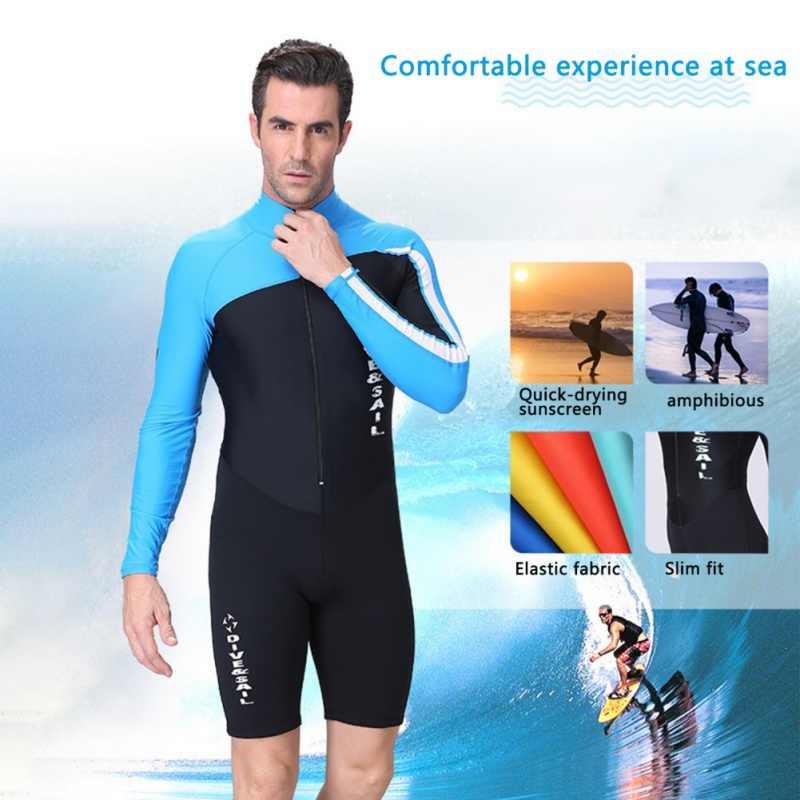Pria Wanita UV Wetsuit Perlindungan Baju Lengan Panjang Zipper Depan Baju Renang Surfing K Berlaku untuk Menyelam